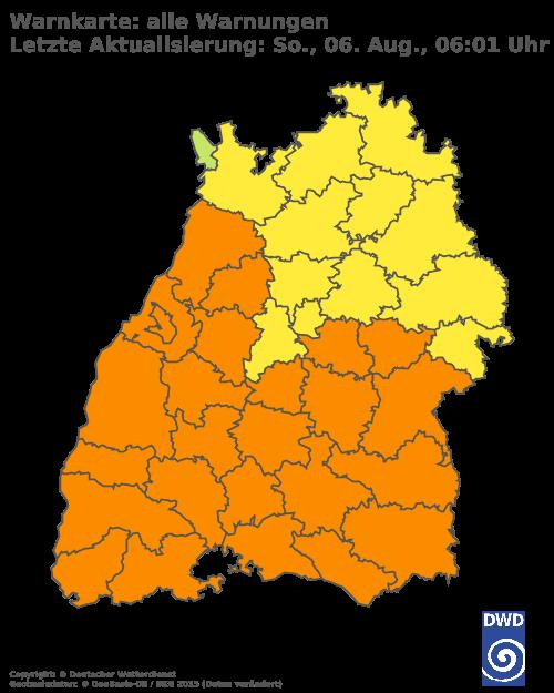 Aktuelle Wetterwarnungen für Karlsruhe
